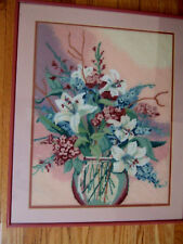 Special Complete/ cross stitch/ Bowl/ with white day lillys/ & pink flowers/