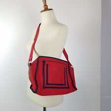 Vintage 80's Purse Red Canvas Messenger Bag Logo Lining Leather Trim Streetwear