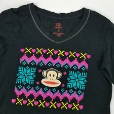 Paul Frank Women Black Shirt Sz S Black Long Sleeve Shirt Top Monkey Snowfake
