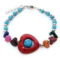 BRACELET femme réglable perles pierres coeur ROUGE pierres BLEU st valentin