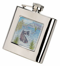 Fishing Scene Stainless Steel Flask  6oz Gift  Hip Flask FREE ENGRAVING