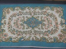 "Vintage Hand Stitched Needlepoint Rug Hand stitched Wool 35"" x 56"" Canvas Back"