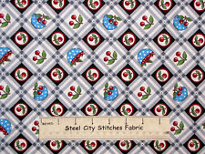 Mary Engelbreit Very Very Cherry Cherries Bowl Plaid Check Cotton Fabric YARD