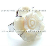 white black Natural seawater shell flower adjustable ring 30mm USA BY EUB