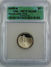 2005-S Proof Jefferson Nickel 5c, ICG PR-70 DCAM, Perfect Coin, Ocean View