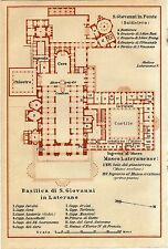 Antique map Basilica of St. John Lateran Rome Italy