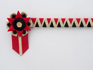 RED, NAVY AND GOLD - CORNERSTONE BROWBAND - VELVET SHOWING BROWBAND