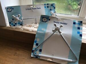 BATHROOM TOWEL HOLDER AND 3 HOOK TOWEL/ ROBE IN VINTAGE STYLE CHROME AND WHITE