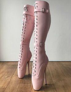 Pink Ballet Heels Knee High Boots Women Winter Booties Custom Wide Calf Boots