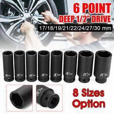 1/2'' Drive 17-30mm Duty Deep Impact Sockets 6 Point Axle Hub Spindle Nut Socket