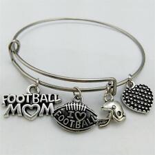 Football Stainless Steel Metal Adjustable Wire Bangle Bracelet Pulseira Jewelry