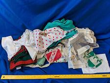 Antique-VTG Linen HUGE LOT Apron Napkin Scarf Hanky Xmas Tablecloth Spread