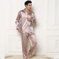 NWT 2PCS Mens Silk Satin Pajamas Sleepwear Pyjamas PJS Long Sleeve M025  M,L,XL