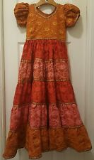 Girls Handmade Boho Dress Peasant Lace Renaissance Fair Cinco de Mayo Indian