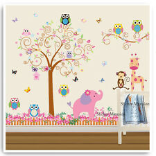 Owl Animal Wall Sticker Jungle Monkey Zoo Tree Baby Nursery Kids Room Decal Art