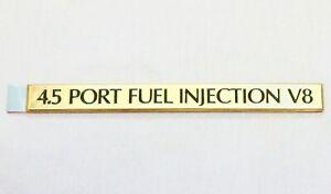 """1989-1993 CADILLAC DEVILLE """"4.5 PORT FUEL INJECTION V8"""" EMBLEM GOLD PLATED NOS"""