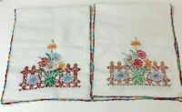 Vtg Linen Lot of 2 Table Runners Textiles Needlework Embroidered Floral Fence