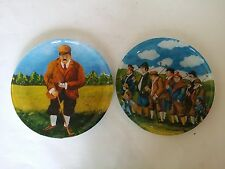 2 RARE GUY BUFFET UNDER GLASS PLATES GOLF GOLFER COURSE HOLE IN ONE GREEN