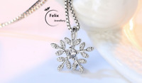 Snowflakes Pendant 925 Sterling Silver Necklace Chain Jewellery Womens Love Gift