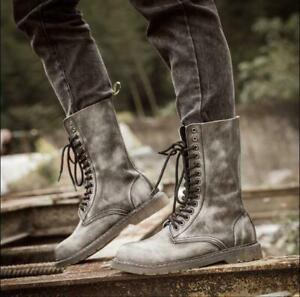 Mens Chic Fade Leather Millitary Combat Mid Calf British Ankle Boots Shoes MOON