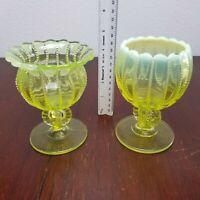 Set of 2 - NORTHWOOD 562 Opalescent Vaseline COMPOTE Vase Candle Holder beaded