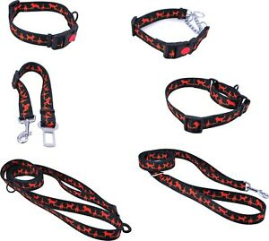 Erziehungshalsband Sicherheitsgurt Hundehalsband Hunde Leine Cardio Black Red