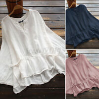 Women Linen Cotton V-Neck Tops T-Shirt Asymmetrical Hem Solid Shirt Blouse S-5XL