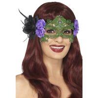 Encaje Bordado Filigrana Bruja Antifaz Halloween Accesorio de Disfraz + Rosas