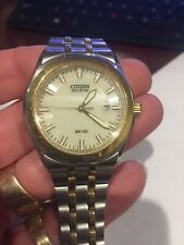 CITIZEN Eco Drive Two Tone White Dial Men's Watch w/Date