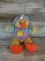 SUPER CUTE HUGFUN CURLY HAIRED EASTER DUCK PLUSH JOINTED STUFFED