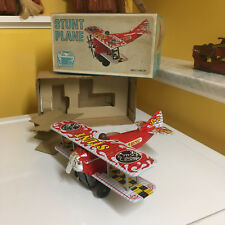 VINTAGE BATTERY OPERATED SEARS STUNT PLANE PERFECTLY WORKING WITH BOX BY T.P.S.