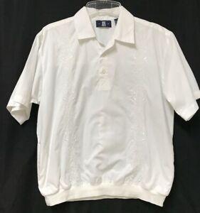 Vtg OAK CREEK Banded Bottom Shirt Men's Medium Embroidered Ivory Short Sleeves