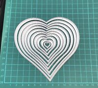 Brand New 10 Stitched Edge Nesting Heart Framelit Metal Die Cutter Uk Seller