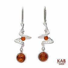 COGNAC BALTIC AMBER STERLING SILVER 925 JEWELLERY, DANGLE EARRINGS, KAB-153