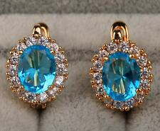 18K Yellow Gold Filled - 7*9mm Oval Blue Topaz Gemstone Cocktail Hoop Earrings