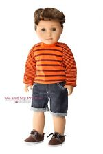"STRIPED SHIRT + DENIIM SHORTS + SHOE Clothes for 18"" American Boy logan Doll"