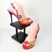 J Renee Women's Clear Slingback Peep Toe W/ Rhinestone Detail Heels Size 9.5M