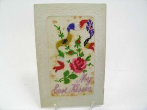 Antique postcard valentine card embroidered silk My Best Kisses
