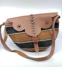 Vintage Woven Jute Straw Bag Raffia Market Tote Purse Leather Top Rare Gorgeous