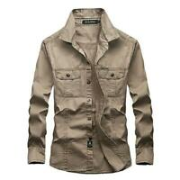 Mens Military Army Security Outdoor Tactical Work Shirt Long Sleeve Tops Blouse