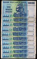 Zimbabwe 1 Million Dollars x 10 Banknotes AA AB 2008 [10PCS] Currency Bundle Set