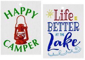 Made in Sweden Camping & Lake Life Swedish Dishcloths Set Cellulose Sponge Cloth