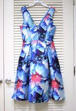 blue floral p satin slevless dress L + anthropologie earrings