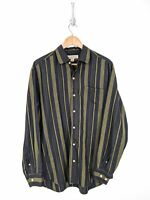 Tommy Bahama Silk Button Up Shirt Men Large Black Green Striped