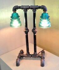 Double Blue Green Insulators Black Pipe Table Lamp Steampunk