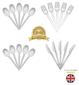 White Plastic Disposable Knives Forks Spoons Cutlery Kids Party BBQ UK