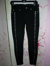 """""""7 FOR ALL MANKIND"""" Leggings, Black, Size 27"""", Gold Zippers down Both Legs"""