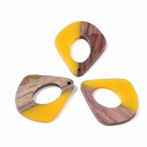 4 pcs. Yellow Mustard Resin and Wood Teardrop Flat Pendant – 33mm x 28mm