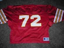 Vintage Football jersey, game used, Red w/white/gold, #72, adult XL