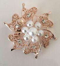 Large ROSE GOLD COLOURED Brooch Broach Pin Wedding SUGARCRAFT COSTUME JEWELERY